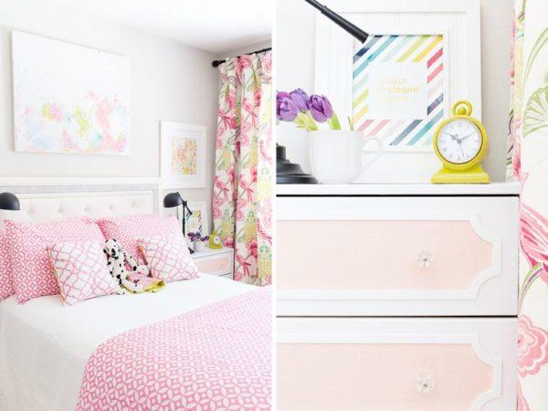 august joy studio, malm,3 drawer, dresser, pink