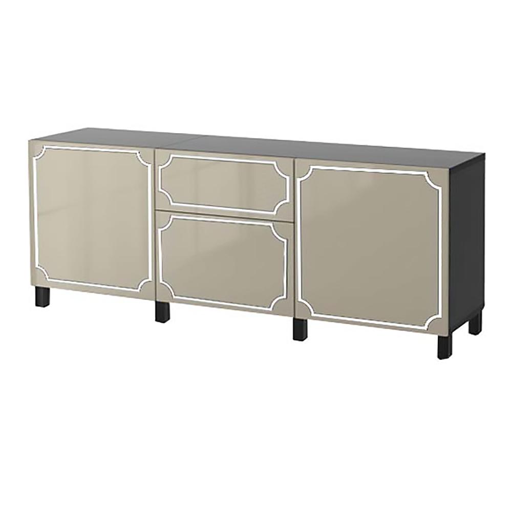 BC101525-AN-4 overlays Anne kit ikea besta 4 door combo unit  sc 1 st  Ou0027verlays & Ou0027verlays Anne Kit for Ikea Besta 4 door-drawer console unit