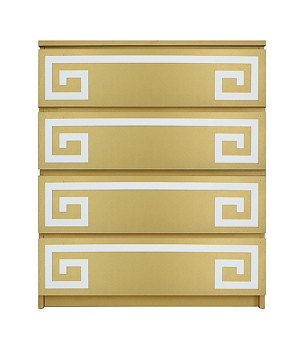 new style b9cbd 7a03d Greek Key Double Kit for Ikea Malm 4 Drawer Chest