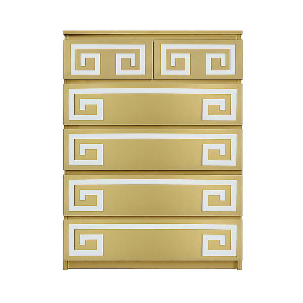 O'verlays Greek Key Double Kit for Ikea Malm 6 drawer chest